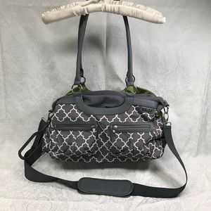 Gray, white and lime green diaper bag